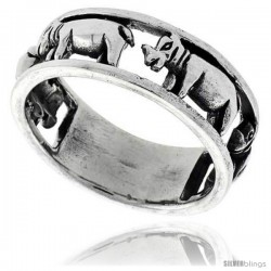 Sterling Silver Polished Hippopotamus Ring