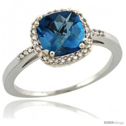 14k White Gold Diamond London Blue Topaz Ring 1.5 ct Checkerboard Cut Cushion Shape 7 mm, 3/8 in wide