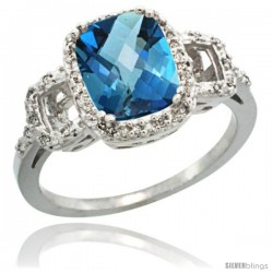 14k White Gold Diamond London Blue Topaz Ring 2 ct Checkerboard Cut Cushion Shape 9x7 mm, 1/2 in wide