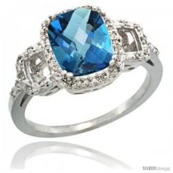 14k White Gold Diamond London Blue Topaz Ring 2 ct Checkerboard Cut Cushion Shape 9x7 mm, 1/2 in wide