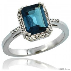 14k White Gold Diamond London Blue Topaz Ring 1.6 ct Emerald Shape 8x6 mm, 1/2 in wide -Style Cw405129