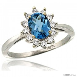14k White Gold Diamond Halo London Blue Topaz Ring 0.85 ct Oval Stone 7x5 mm, 1/2 in wide
