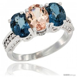 14K White Gold Natural Morganite & London Blue Topaz Sides Ring 3-Stone 7x5 mm Oval Diamond Accent