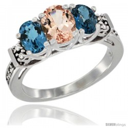 14K White Gold Natural Morganite & London Blue Ring 3-Stone Oval with Diamond Accent