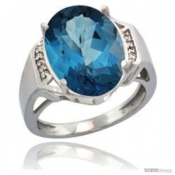 14k White Gold Diamond London Blue Topaz Ring 9.7 ct Large Oval Stone 16x12 mm, 5/8 in wide