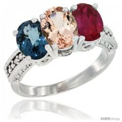 14K White Gold Natural London Blue Topaz, Morganite & Ruby Ring 3-Stone 7x5 mm Oval Diamond Accent