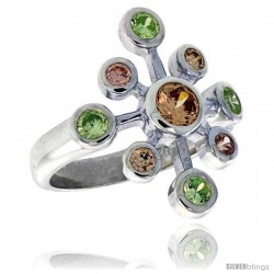 Sterling Silver Snowflake Right Hand Ring Peridot & Citrine-colored CZ Stones 7/8 in wide