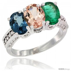 14K White Gold Natural London Blue Topaz, Morganite & Emerald Ring 3-Stone 7x5 mm Oval Diamond Accent
