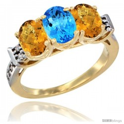 10K Yellow Gold Natural Swiss Blue Topaz & Whisky Quartz Sides Ring 3-Stone Oval 7x5 mm Diamond Accent