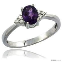10K White Gold Natural Amethyst Ring Oval 7x5 Stone Diamond Accent