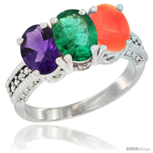 https://www.silverblings.com/42785-thickbox_default/10k-white-gold-natural-amethyst-emerald-coral-ring-3-stone-oval-7x5-mm-diamond-accent.jpg