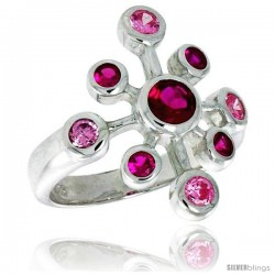 Sterling Silver Snowflake Right-hand Ring Ruby & Pink Tourmaline-colored CZ Stones7/8 in wide