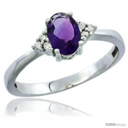 10K White Gold Natural Amethyst Ring Oval 6x4 Stone Diamond Accent