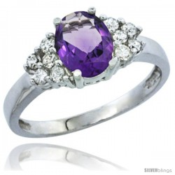 10K White Gold Natural Amethyst Ring Oval 8x6 Stone Diamond Accent