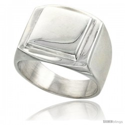 Sterling Silver Large Square Signet Ring Solid Back Handmade