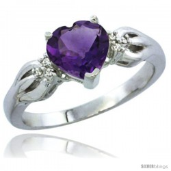 10K White Gold Natural Amethyst Ring Heart-shape 7x7 Stone Diamond Accent
