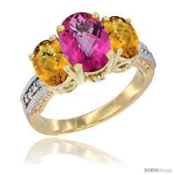 10K Yellow Gold Ladies 3-Stone Oval Natural Pink Topaz Ring with Whisky Quartz Sides Diamond Accent