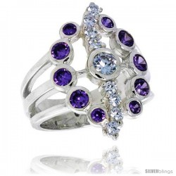 Highest Quality Sterling Silver 7/8 in (22 mm) wide Oval-shaped Right Hand Ring, Bezel Set Brilliant Cut Amethyst