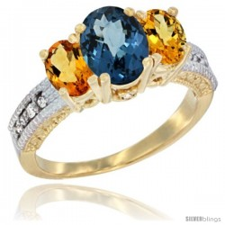 14k Yellow Gold Ladies Oval Natural London Blue Topaz 3-Stone Ring with Citrine Sides Diamond Accent