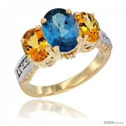 14K Yellow Gold Ladies 3-Stone Oval Natural London Blue Topaz Ring with Citrine Sides Diamond Accent