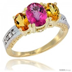 14k Yellow Gold Ladies Oval Natural Pink Topaz 3-Stone Ring with Citrine Sides Diamond Accent