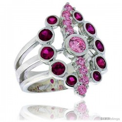 Highest Quality Sterling Silver 7/8 in (22 mm) wide Oval-shaped Right Hand Ring, Bezel Set Brilliant Cut Ruby & Pink