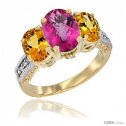 14K Yellow Gold Ladies 3-Stone Oval Natural Pink Topaz Ring with Citrine Sides Diamond Accent