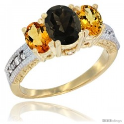 14k Yellow Gold Ladies Oval Natural Smoky Topaz 3-Stone Ring with Citrine Sides Diamond Accent