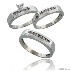 10k White Gold Diamond Trio Engagement Wedding Ring 3-piece Set for Him & Her 5 mm & 4.5 mm, 0.14 cttw Brill -Style Ljw009w3