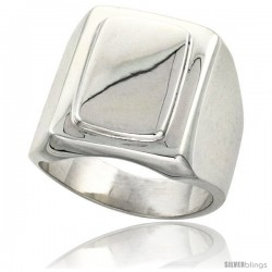 Sterling Silver Large Rectangular Signet Ring Solid Back Handmade -Style Xr170