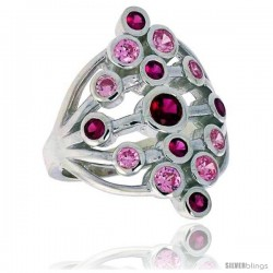 Highest Quality Sterling Silver 1 in (25 mm) wide Diamond-shaped Right Hand Ring, Bezel Set Brilliant Cut Ruby & Pink