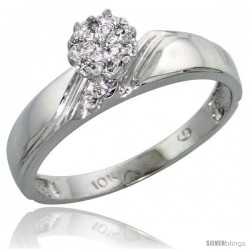 10k White Gold Diamond Engagement Ring 0.05 cttw Brilliant Cut, 3/16 in wide -Style Ljw010er
