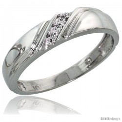10k White Gold Ladies Diamond Wedding Band Ring 0.02 cttw Brilliant Cut, 3/16 in wide -Style Ljw010lb