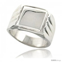 Sterling Silver Square Signet Ring Solid Back Handmade -Style Xr172