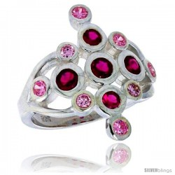 Highest Quality Sterling Silver 7/8 in (23 mm) wide Diamond-shaped Right Hand Ring, Bezel Set Brilliant Cut Ruby & Pink