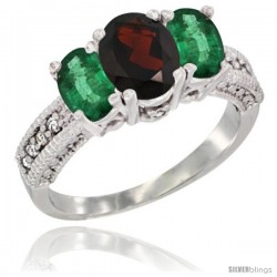 14k White Gold Ladies Oval Natural Garnet 3-Stone Ring with Emerald Sides Diamond Accent