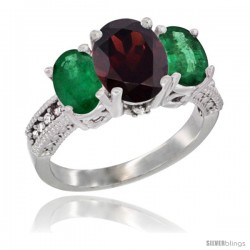 14K White Gold Ladies 3-Stone Oval Natural Garnet Ring with Emerald Sides Diamond Accent