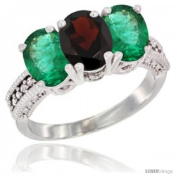 14K White Gold Natural Garnet & Emerald Sides Ring 3-Stone 7x5 mm Oval Diamond Accent