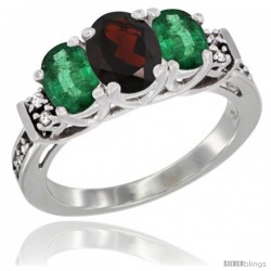 14K White Gold Natural Garnet & Emerald Ring 3-Stone Oval with Diamond Accent