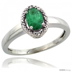 14k White Gold Diamond Halo Emerald Ring 0.75 Carat Oval Shape 6X4 mm, 3/8 in (9mm) wide