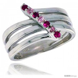 Highest Quality Sterling Silver 1/2 in (13 mm) wide Right Hand Ring, Brilliant Cut Ruby & Pink Tourmaline-colored CZ Stones
