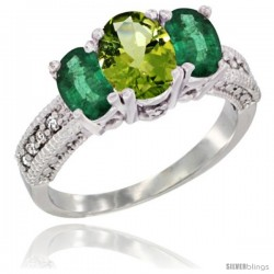 14k White Gold Ladies Oval Natural Peridot 3-Stone Ring with Emerald Sides Diamond Accent