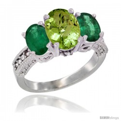 14K White Gold Ladies 3-Stone Oval Natural Peridot Ring with Emerald Sides Diamond Accent