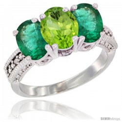 14K White Gold Natural Peridot & Emerald Sides Ring 3-Stone 7x5 mm Oval Diamond Accent