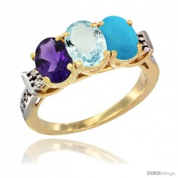 10K Yellow Gold Natural Amethyst, Aquamarine & Turquoise Ring 3-Stone Oval 7x5 mm Diamond Accent