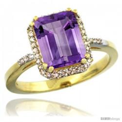 10k Yellow Gold Diamond Amethyst Ring 2.53 ct Emerald Shape 9x7 mm, 1/2 in wide