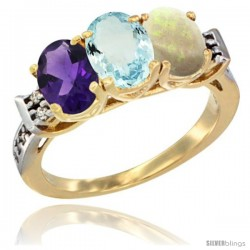 10K Yellow Gold Natural Amethyst, Aquamarine & Opal Ring 3-Stone Oval 7x5 mm Diamond Accent
