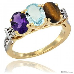 10K Yellow Gold Natural Amethyst, Aquamarine & Tiger Eye Ring 3-Stone Oval 7x5 mm Diamond Accent