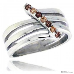 Highest Quality Sterling Silver 1/2 in (13 mm) wide Right Hand Ring, Brilliant Cut Citrine & Smoky Topaz-colored CZ Stones