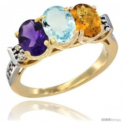 10K Yellow Gold Natural Amethyst, Aquamarine & Whisky Quartz Ring 3-Stone Oval 7x5 mm Diamond Accent